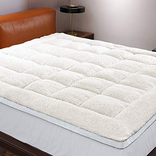Reversible Mattress Topper (Queen), Perfect for Summer & Winter, Thick Plush Mattress Topper for Summer Sale Featuring with Cozy to Touch Fabric & Deep Pocket
