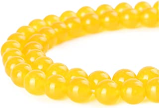 Mallofusa Artificial Jade Gemstone Natural Loose Beads Round 8mm Crystal Energy Stone Healing Power for Bracelets Jewelry Making Gift Ideas ?Yellow