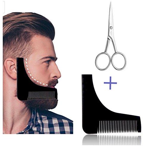 Bart-Schablone Bartpflege-Set mit Schere und Kamm Rasierhilfe für Bartstyling drei Tage Bart | Styling Tool Geburtstagsgeschenk für Männer