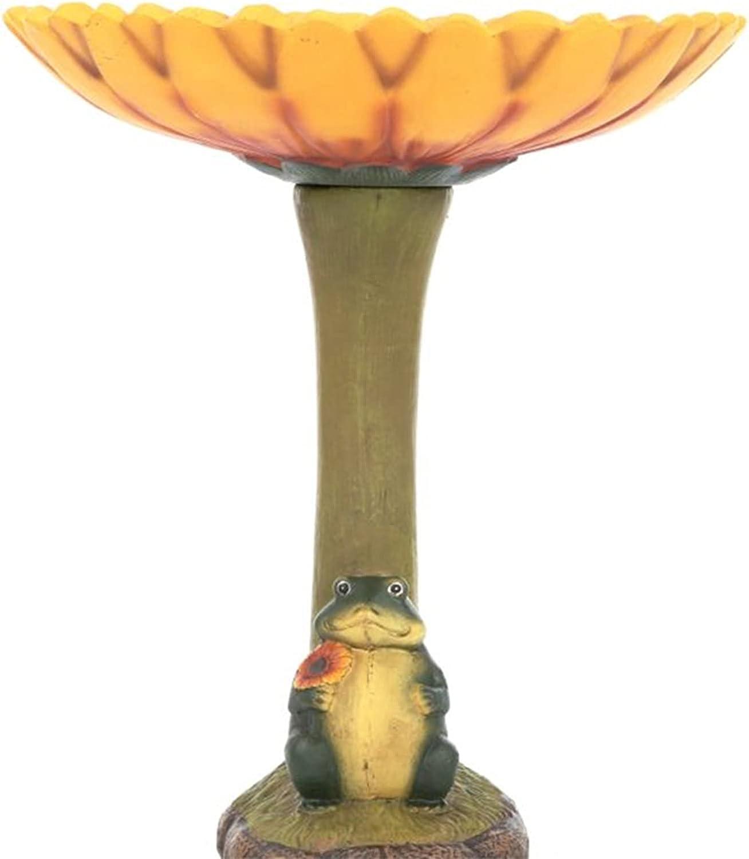 CERISIAANN Standing Birdbath OFFer Resin Fees free!! Sunflower Frog and Statue wi