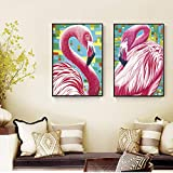 ganlanshu Pink Bird Simple Sala de Estar decoración Moderna Pintura mesita de Noche Dormitorio Comedor Mural decoración del hogar,Pintura sin Marco,50X75cmx2