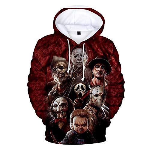 Unisex 3D Digital Print Horror Hoodies Funny Novelty Sweatshirt Hooded Pullover Friends Film Style Gift Hoodie - Best Horror Characters Halloween Hoodie Horror Clown Couple Sweatshirt for Men Women