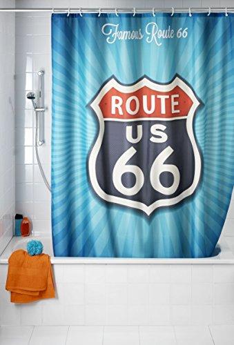 WENKO 21587100 Anti-Schimmel Duschvorhang Vintage Route 66 - waschbar, 100 % Polyester, Mehrfarbig
