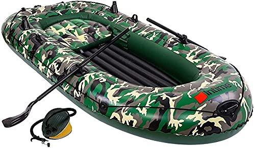 Kayak Inflable para 3 Personas, Bote, Canoa, Balsa De 9 Pies, Kayak Inflable con Bomba De Aire, Remo De Cuerda, Bote para 2-4 Personas para Adultos Y Niños, Bote De Pesca De Camuflaje Portátil, 6 Kay