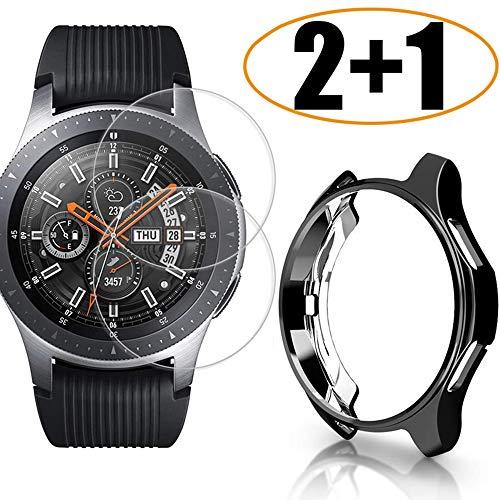 Miimall Kompatibel mit Samsung Galaxy Watch 46mm/Gear S3 Hülle mit Schutzfolie Panzerglas, Ultradünne Weiche TPU Kratzfest Stoßfest Schutzhülle Bumper Case für Galaxy Watch 46mm/Gear S3 - Schwarz