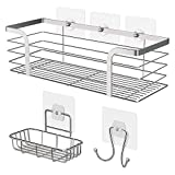 Umi. by Amazon - Set de Estantería para Baño, Jabonera y Gancho, Estantes para Ducha, Accesorios de Baño de Acero Inoxidable 304