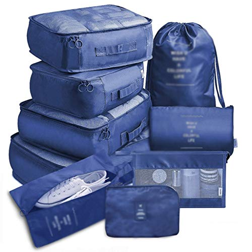 ZYING 9 pieces Set Travel Organizer Storage Bags Suitcase Packing Set Storage Cases Portable Luggage Organizer Clothes Shoe Tidy Pouch (Color : E)