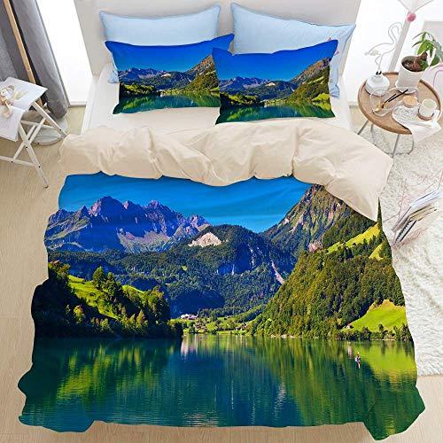 Ensemble de literie 3 pièces, montagne des Alpes suisses et forêt de prairies avec lac calme aussi petit vieux village, ensemble de housse de couette à glissière moderne avec 2 taies d'oreiller ensemb