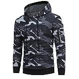 MORCHAN Manches Longues Hommes Camouflage Sweat à Capuche Hauts Veste Manteau Outwear(Large,Gris)