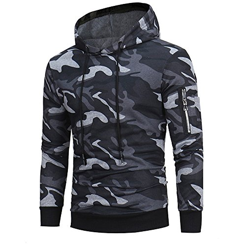 SANFASHION Noël Sweat à Capuche Cotton Manche Longue Homme Sweat-Shirt Tricot Plaid Outwear Sportsweat Hoodie Camouflage Sport (M, G- Camouflage)
