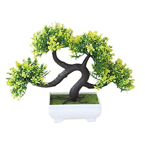 TZSHUQ Welkomend Pine Mini Bonsai Simulatie Decoratieve Kunstbloemen Nep Groene Potplanten Ornament Home Desktop Decor Geel
