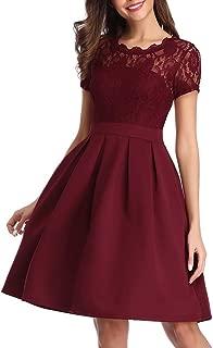Freeprance Vintage Lace Cocktail Dresses for Women Party Wedding Short Bridesmaid Dress A-Line High Waist Summer Dress