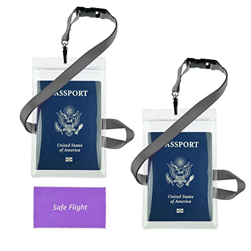 """Transparent Passport ID Badge Holder Extra Large 6x4"""" with 17"""" Neck Lanyard - 2 Pack Bundle - Detach Buckle - Also for Cash, Credit Card, Plane Ticket, etc - Essential 'Handsfree' Travel Accessory - with Safe Flight Retail Packaging and Cleaning Cloth"""