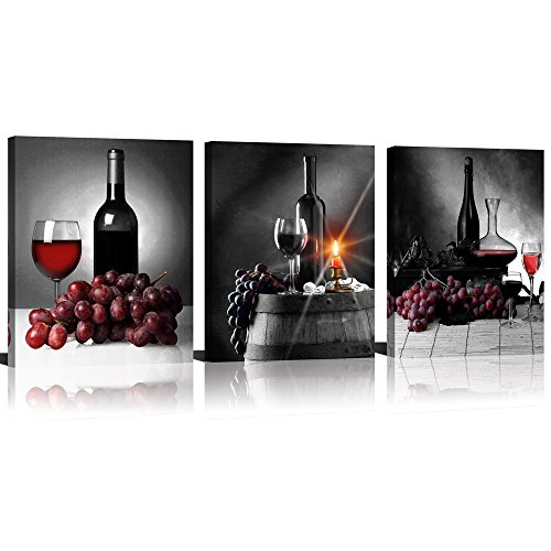 S-ANT Canvas Wall Art Red Wine Green Grape Wine Cups Bottles HD Modern Abstract Giclee Canvas Prints Artwork for Kitchen Home (Black)
