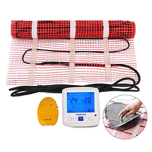 Happybuy 30 Sqft 120V Electric Radiant Floor Heating Mat with Alarmer and Programmable Floor Sensing Thermostat Self-Adhesive Mesh Underfloor Heat Warming Systems Mats Kit (30Sqft Kit)
