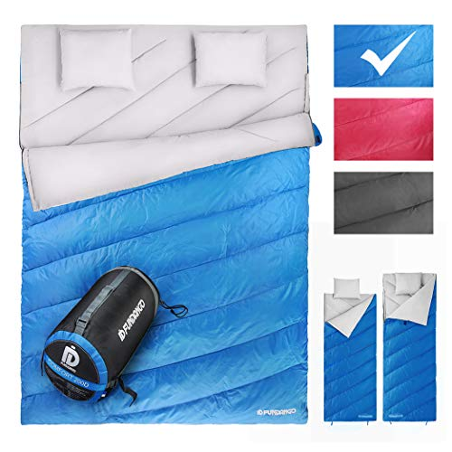FUNDANGO Double Sleeping Bag 2 Person Sleeping Bags for Adults Envelope Compact Waterproof Warm Season Cool Weather Extreme 4 Degree for Camping Backpacking Hiking Oversize XL with Carry Bag&2 Pillows