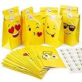Emoji sacs-cadeaux Papier, MOOKLIN ROAM 48pcs Papier Kraft Sacs Papier Pochettes Sac avec Autocollant, Petit Kit Cadeau Utilisé dans de bonbons, noix, Party, Anniversaire, Noël, 11.9x7.8x22cm