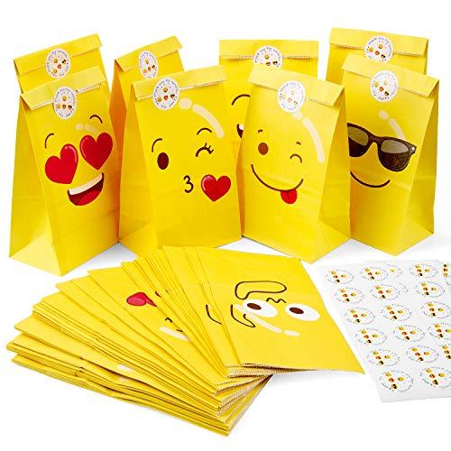 MOOKLIN ROAM Emoji Gelb Papiertüten 48 Stück Party Papier Geschenktüten Kraftpapiertüten Papierbeutel, Candy Tüten mit Emoji Stickers für die Geschenkene, burtstag, Hochzeit, 11.9x7.8x22cm