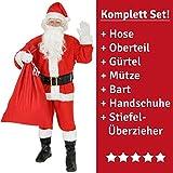 9 pezzi Costume da Babbo Natale per uomini - Taglia: XXXL - Costume da Babbo Natale con cappelloBartBelt e guanti - Costume di Natale Costume da Babbo Natale Costumi di Natale Costumi di Natale rosso