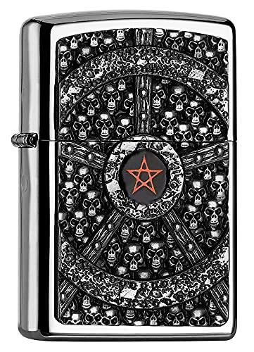 Zippo Zippo PL Skull Pentagram Feuerzeug, Messing, Edelstahloptik, 1 x 3,5 x 5,5 cm Edelstahloptik
