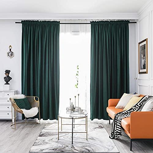 FY FIBER HOUSE Luxury Velvet Blackout Vintage Curtains Thermal Insulated Rod Pocket Drapes for Bedroom Living Room Office Nursery 52x108 Inch 1 Pair Dark Green