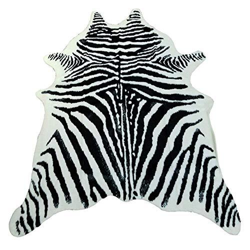 KOOCO Impreso de Vaca Alfombra de Cuero de Vaca alfombras de Piel sintética de Animales de Gran tamaño 2x1.5m Mat Animal marrón imitación de Cuero de Forma Natural Keskin Mat, 200x150cm Zebra
