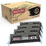 Matsuro Original | Compatible Cartucho de Toner Reemplazo para HP Q6000A Q6001A Q6003A Q6002A 124A CRG-707 (1 Set)