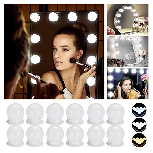 Hollywood LED Spiegelleuchte, Schminktisch Spiegel Lichter Set für Kosmetikspiegel mit Dimmfunktion,Spiegel Nicht Inbegriffen,12 LED-Lampen [Energieklasse A+]