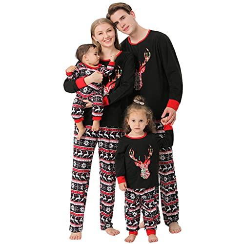 Alueeu Conjunto de Ropa de Navidad Para Familia Juego Trajes Reno a Cuadros Pijamas Manga Largo+ Pantalones Para Mascotas Bebé Niño Mamá Papá