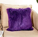 Luxury Long Faux Fur Throw Pillow Case Super Soft Plush Cushion Cover Deluxe Home Sofa Bed Car Party Decorative 18 x 18 Inch Purple