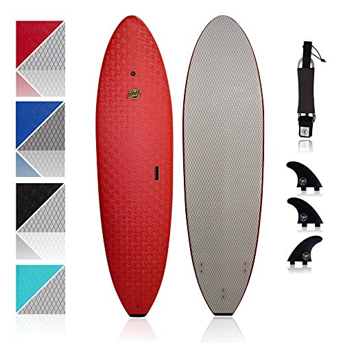 South Bay Board Co. - Premium Beginner Soft Top Surfboards - 7' Ruccus - The Best Foam Surf Boards for Beginners, Kids, and Adults - Wax Free Soft Top Surfboards for Fun & Easy Surfing (Red)