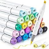 24 rotuladores a base de alcohol de tonos de piel Ohuhu. Rotuladores para niños, artistas, estudiantes de dibujo, ideales para dibujar, colorear, caligrafía, subrayar o hacer ilustraciones