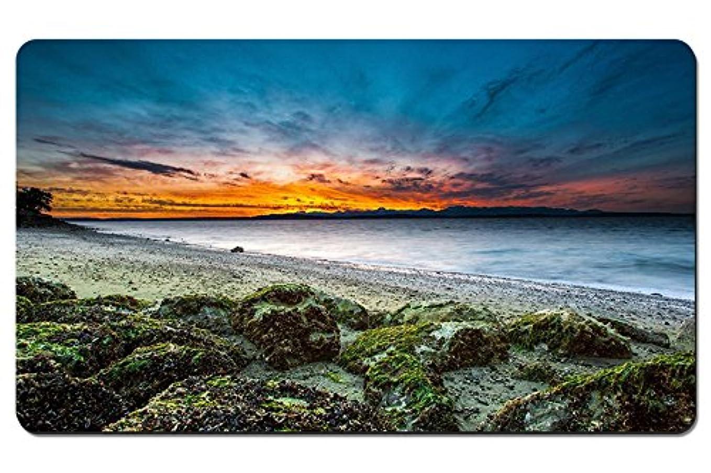 バーガー半導体分布アメリカ、ワシントン州シアトル、浜、海岸、石、日没、海 パターンカスタムの マウスパッド 海 デスクマット 大 (60cmx35cm)