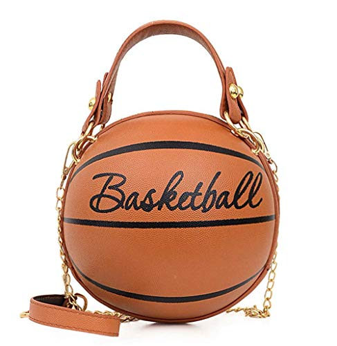 Tasche Basketball Form Hand Mode Frauen Ketten Handtasche Brief Umhängetasche Weiblich Mini Umhängetaschen Rund Geldbörse-Weiß_16x16x16cm (B)