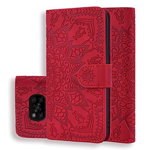 Handyhülle für Xiaomi Poco X3 NFC/Poco X3 Pro Hülle Leicht PU Leder Schutzhülle Flip Brieftasche Hülle Cover mit Tasche Magnetschnalle, Klapphülle für Xiaomi Poco X3 NFC/Poco X3 Pro, Rot