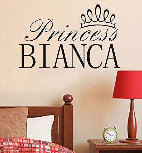 sxh28185171 Prinzessin Krone Wandaufkleber Name Mädchen Name Vinyl Wandtattoo Abnehmbare Kunst Wandbild Tapete Wohnzimmer Kinder Schlafzimmer60cm x 30cm