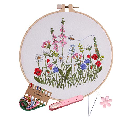 Full range embroidery kits for beginners stamped embroidery kit includes embroidery cloth with pattern embroidery hoop instruction color embroidery floss threads set and needles (Bellflower)