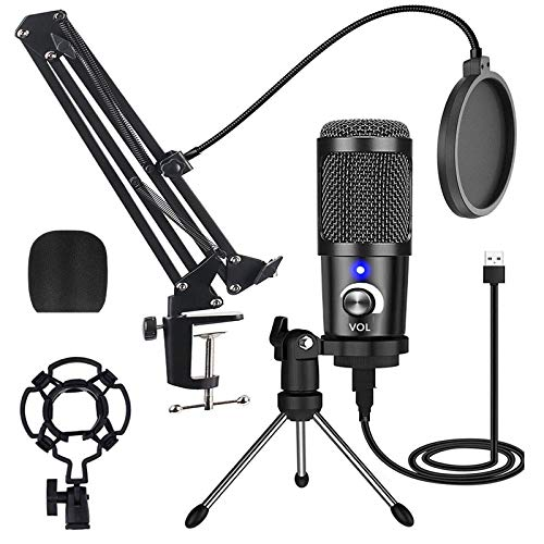 Condenser Microphone for Streaming Podcast Studio Microphone USB with Boom...