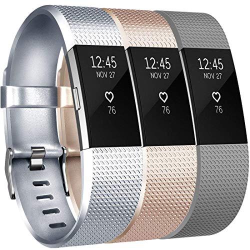 Yandu per Fitbit Charge 2 Fascetta (3 Pezzi), Sostituzione Cinturini Morbido Confortevole di Cinghie per Fitbit Charge 2 (06, 3PC(Silver+Champagne+Gray), S)
