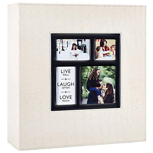 Ywlake Album Photo 500 Pochettes 10x15cm Photos Grand Format Famille Mariage Classique Couverture en Cuir Crocodile (50 Feuilles, 100 Pages, Beige)