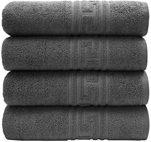 PH Pleasant Home Set Badehandtücher – 4er Pack 70 x 140 cm – 100% Baumwolle, 520 g/m² – Griechischer Schlüsselrand – Weich & Saugfähig (Dunkelgrau)