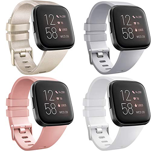 [4 Pack] Straps compatible with Fitbit Versa 2, Fitbit Versa, Versa Lite/SE, Classic TPU Silicone Sport Adjustable Replacement Accessories for Women/Men, Small/Large (Champagne/Grey/Pink/White, Small)
