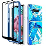 Zectoo Case Compatible with LG K51 /LG Q51 Tempered Glass Screen Protector [2 Pack],Compatible with LG Reflect Phone, Heavy Duty Full-Body Shockproof Rugged Bumper Cover Elegant Marble, Ocean Blue