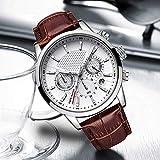 Voigoo Herrenuhren Top Marken-Leder-Chronograph wasserdichte Sport-Automatik Datum Quarz-Uhr for Männer Relogio Masculino