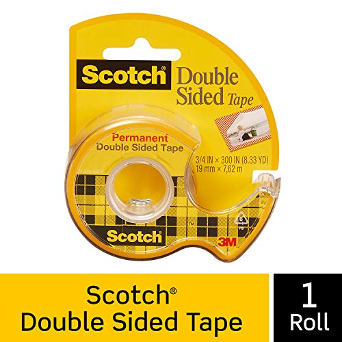 Scotch Brand Double Sided Tape, Strong, Photo-Safe, Engineered for Holding, 3/4 x 300 Inches, Boxed, 1 Roll (237),Multicolor