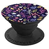 Blue pink floral pattern hand-drawn in navy theme cute gift PopSockets Grip and Stand for Phones and Tablets