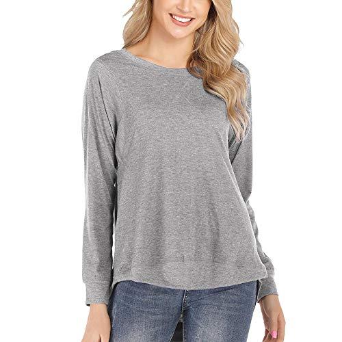 Anshili Damen T Shirt Rundhals Basic Tops Langarm oder Kurzarm (Grau(L), XL: Bust (118 cm)