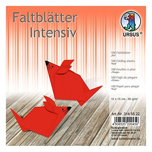 Ursus 3145522 - Faltblätter, 15 x 15 cm, 100 Blatt, rot