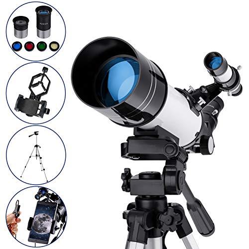 Telescopio Astronómico para Niños Principiantes o Adultos 400/70mm Refractores Profesional Portátil y...