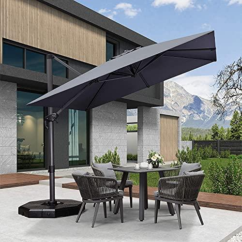 PURPLE LEAF 300 X 300 cm Schirme Sonnenschirm Gartenschirm Kurbelschirm Ampelschirm Terrassenschirm, 8-teilig, Quadratisch, Anthrazit